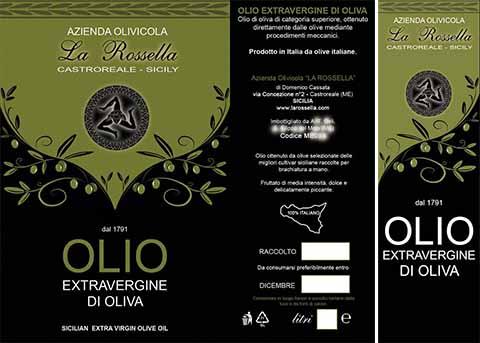 Olio di oliva con trinacria